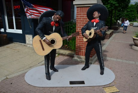 Mariachi statues on the square in Crown Point, Indiana