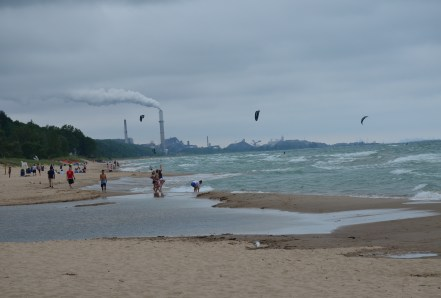 Beach looking west at Indiana Dunes State Park