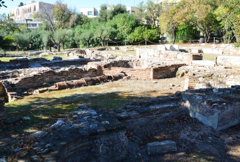 Roman baths at Temple of Olympian Zeus in Athens, Greece