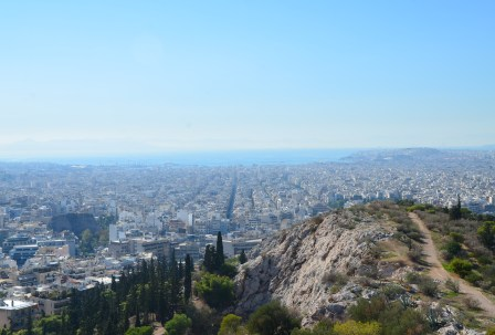 View on Filipappos Hill in Athens, Greece
