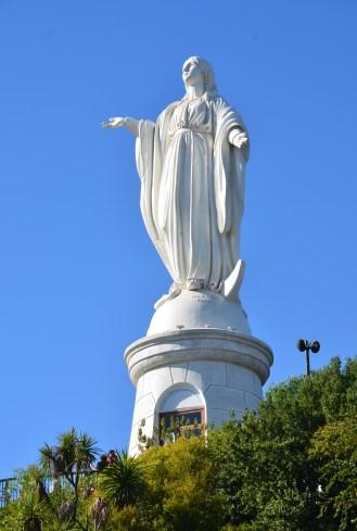 Statue of the Virgin at Cerro San Cristóbal in Bellavista, Santiago de Chile