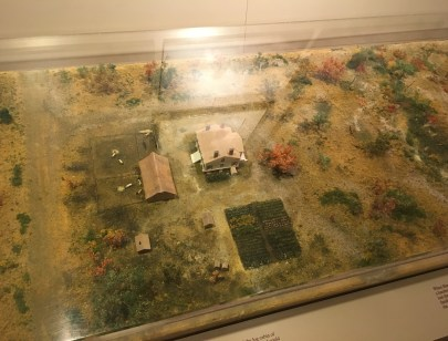 Model of the house and property around 1836 at the Henry B. Clarke House in Chicago, Illinois