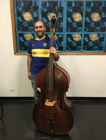 Me and Willie Dixon's bass at Chess Records building (Willie Dixon's Blues Heaven) in Chicago, Illinois