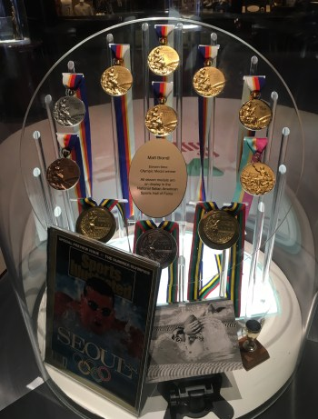 Matt Biondi's Olympic medals at the National Italian American Sports Hall of Fame in Chicago, Illinois