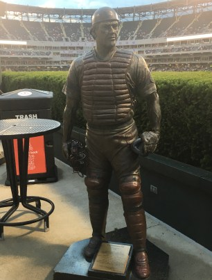 Carlton Fisk statue at Guaranteed Rate Field in Chicago, Illinois