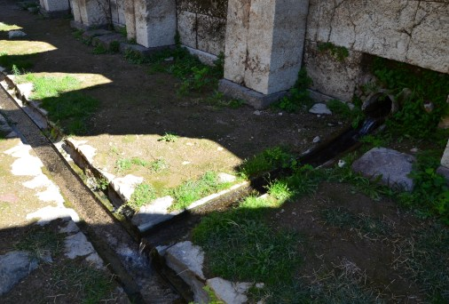 Water flowing through channels at the Smyrna Agora in Izmir, Turkey