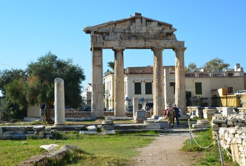 Gate of Athena Archegetis at the Roman Forum in Athens, Greece