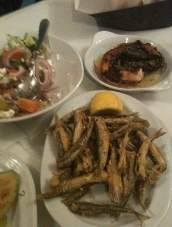 Fried smelt, octopus, and Greek salad at Mpoukia Mpoukia in Ladadika, Thessaloniki, Greece
