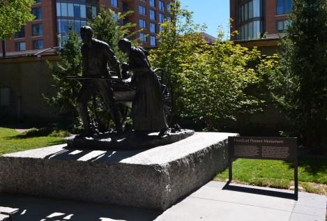 Handcart pioneer monument at Temple Square in Salt Lake City, Utah