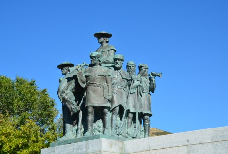 Fur trappers led by William Ashley on the This Is the Place Monument in Salt Lake City, Utah