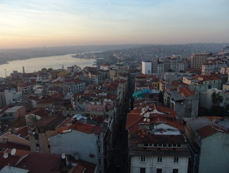 Looking down the Golden Horn from the top of the Galata Tower in Beyoğlu, Istanbul, Turkey
