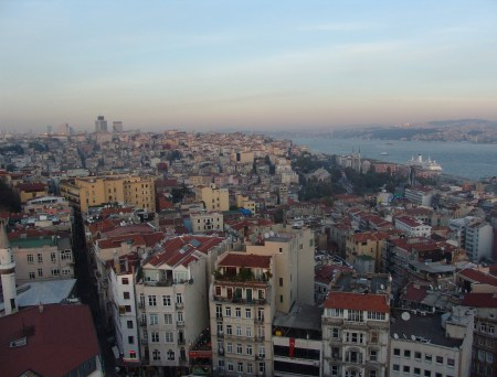 Looking north towards Taksim and the Bosporus from the top of the Galata Tower in Beyoğlu, Istanbul, Turkey