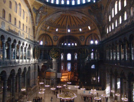 View from the Empress' Loge (with scaffolding) at Hagia Sophia in Istanbul, Turkey