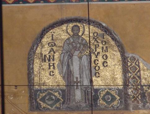 Mosaic of St. John Chrystostom at Hagia Sophia in Istanbul, Turkey