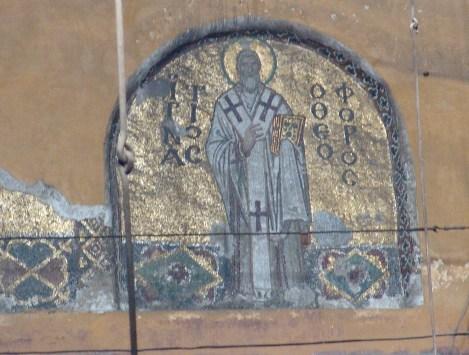 Mosaic of St. Ignatius Theophoros at Hagia Sophia in Istanbul, Turkey