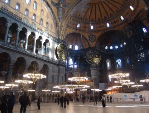 Naos at Hagia Sophia in Istanbul, Turkey