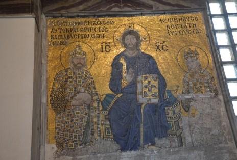 Empress Zoe mosaic at Hagia Sophia in Istanbul, Turkey