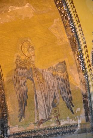 Mosaic of Archangel Gabriel at Hagia Sophia in Istanbul, Turkey
