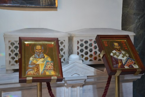 Relics of St. Gregory the Theologian and St. John Chrysostom at the Church of St. George at the Ecumenical Patriarchate of Constantinople in Fener, Istanbul, Turkey
