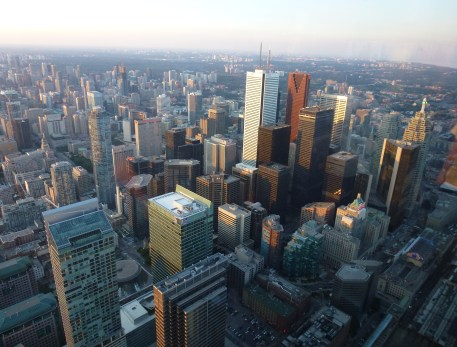 View from the LookOut at the CN Tower in Toronto, Ontario, Canada