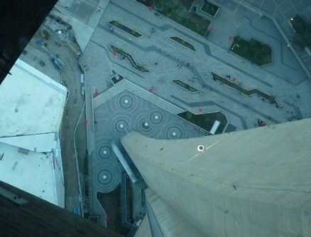 Glass Floor at the CN Tower in Toronto, Ontario, Canada