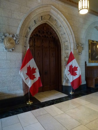 Door to the House of Commons chamber at Parliament Centre Block in Ottawa, Ontario Canada