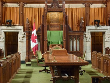 House of Commons chamber at Parliament Centre Block in Ottawa, Ontario Canada