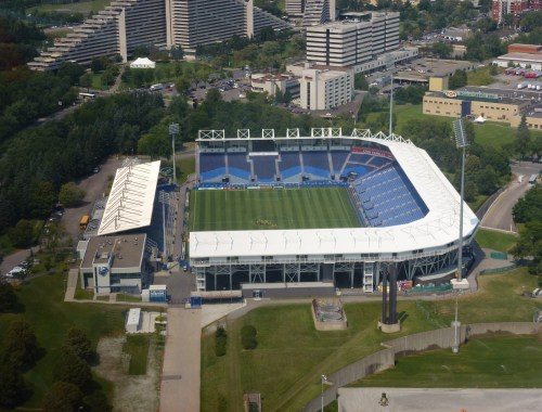View of Stade Saputo from the tower in Montréal, Québec, Canada