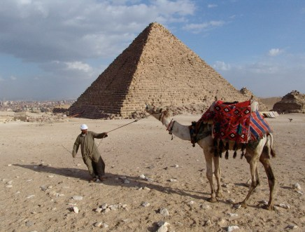 Camel driver at the Pyramids of Giza in Egypt