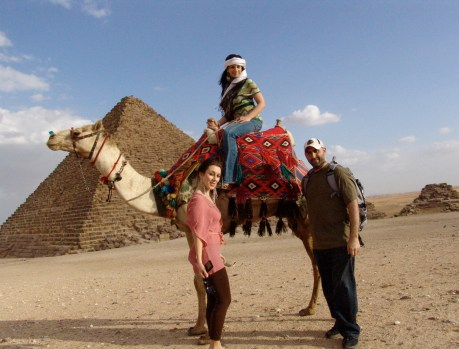 Dana, Maria, and me at the Pyramids of Giza in Egypt