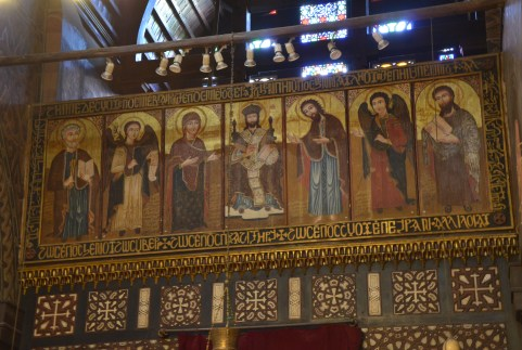 Icons above the altar at the Hanging Church in Cairo, Egypt