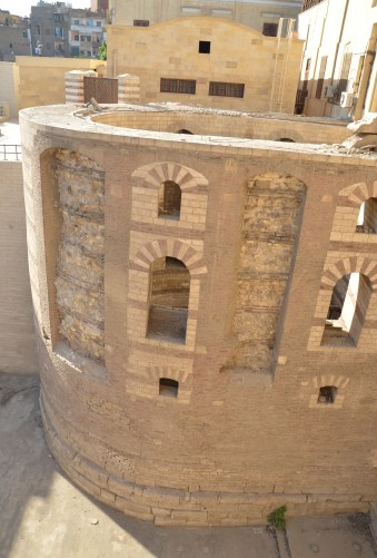 View of the Babylon Fortress at the Hanging Church in Cairo, Egypt