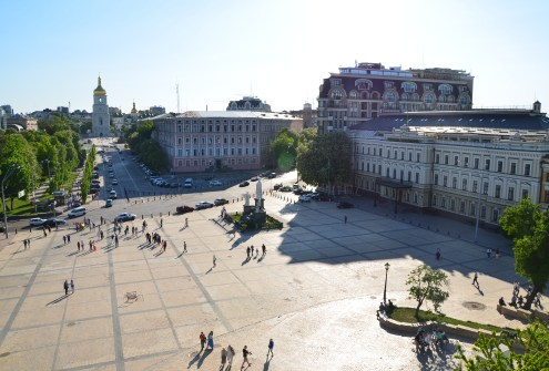 View of Mykhailivs'ka Square from the bell tower at St. Michael's Golden-Domed Monastery in Kiev, Ukraine