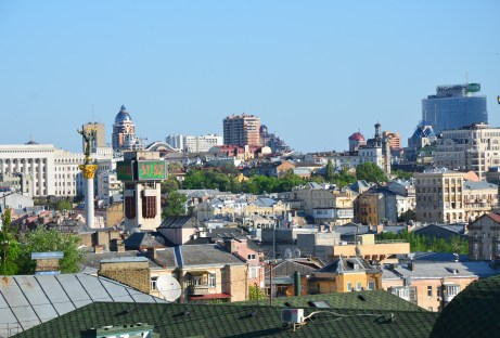 View of Kiev from the bell tower at St. Michael's Golden-Domed Monastery in Kiev, Ukraine