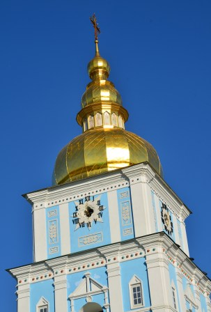 Bell tower at St. Michael's Golden-Domed Monastery in Kiev, Ukraine
