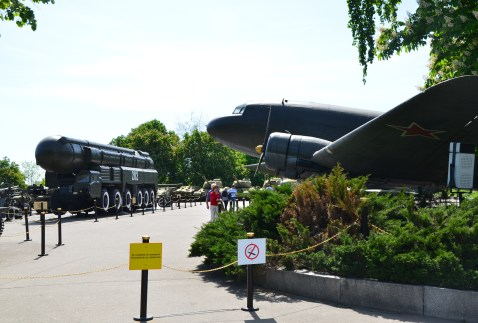 Military vehicles at the National Museum of the History of Ukraine in the Second World War Memorial Complex in Kiev, Ukraine