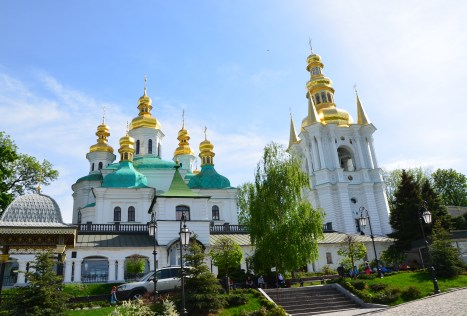 Refectory Church and bell tower at Kiev Pechersk Lavra in Kiev, Ukraine