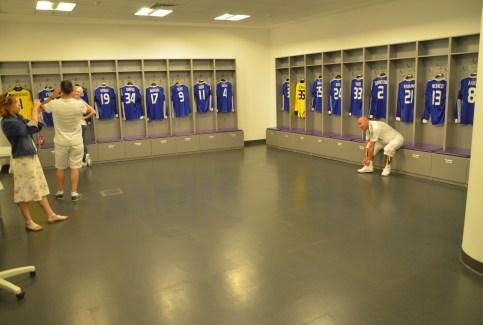 Dynamo Kiev locker room at Olimpiyskiy National Sports Complex in Kiev, Ukraine