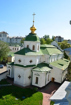 Refectory Church from the bell tower at St. Sophia Cathedral complex in Kiev, Ukraine