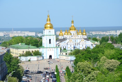 View of St. Michael's Golden-Domed Monastery from the bell tower at St. Sophia Cathedral complex in Kiev, Ukraine