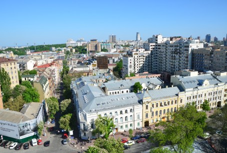 View of Kiev from the bell tower at St. Sophia Cathedral complex in Kiev, Ukraine