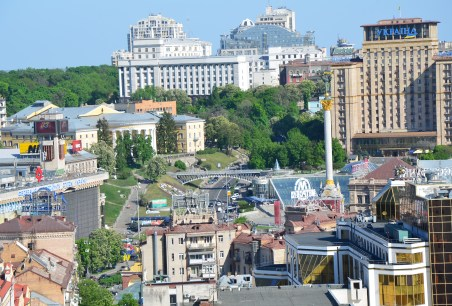 View of Maidan Nezalezhnosti from the bell tower at St. Sophia Cathedral complex in Kiev, Ukraine