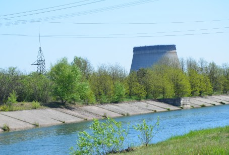 Cooling tower at Chernobyl Nuclear Power Plant in Chernobyl Exclusion Zone, Ukraine