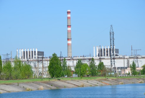 Reactors #1 and #2 at Chernobyl Nuclear Power Plant in Chernobyl Exclusion Zone, Ukraine