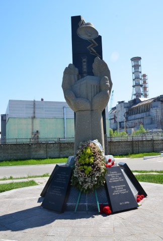 """Memorial to the workers who """"saved the world"""" at Chernobyl Nuclear Power Plant in Chernobyl Exclusion Zone, Ukraine"""