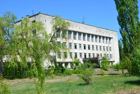 City administration building in Pripyat, Chernobyl Exclusion Zone, Ukraine