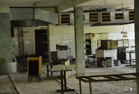 Cafeteria at Middle School #5 in Pripyat, Chernobyl Exclusion Zone, Ukraine
