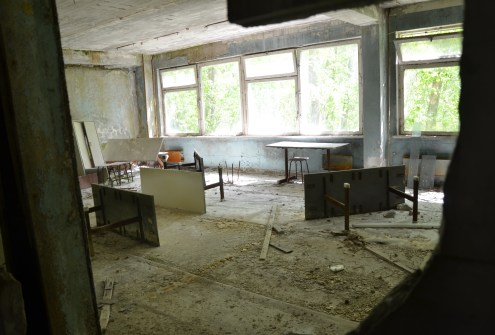 Classroom at Middle School #5 in Pripyat, Chernobyl Exclusion Zone, Ukraine