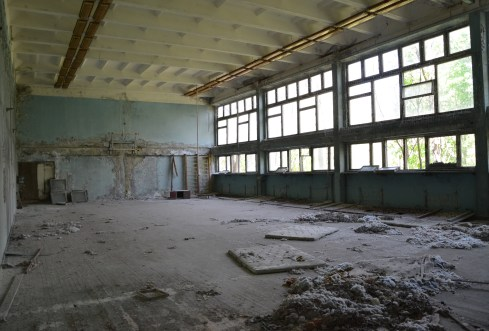 Gymnasium at Middle School #5 in Pripyat, Chernobyl Exclusion Zone, Ukraine