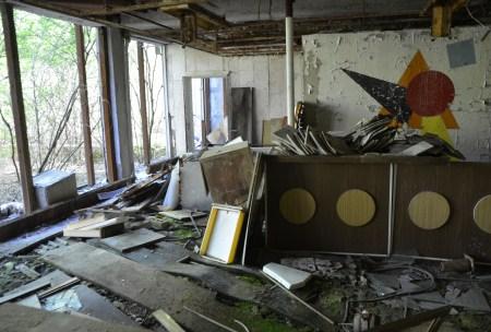 """Lobby at Public Pool """"Lazurny"""" in Pripyat, Chernobyl Exclusion Zone, Ukraine"""